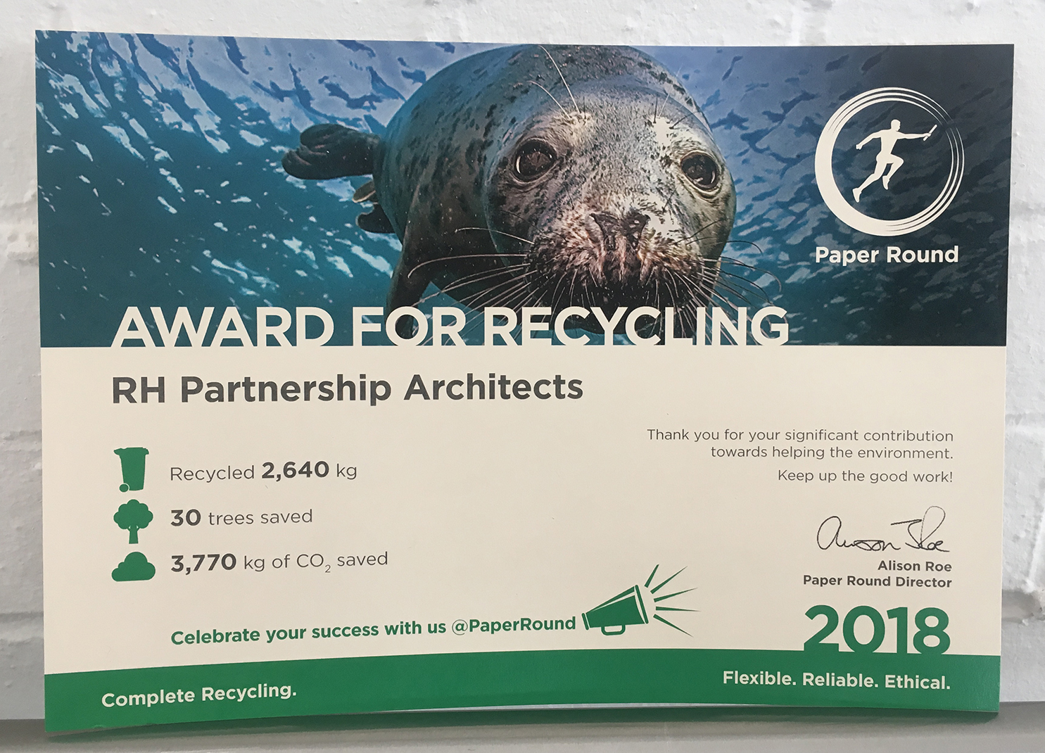rhp Wins Award for Recycling