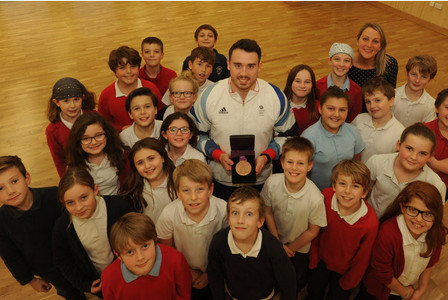 Olympian Kristian Thomas wins over Cottenham Primary School