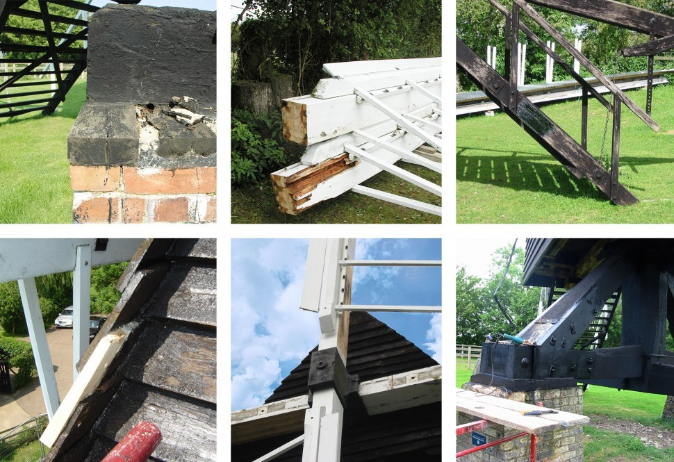 Stages of repair at Bourn Mill.